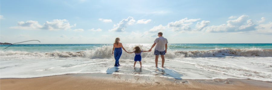 picture of family at beach