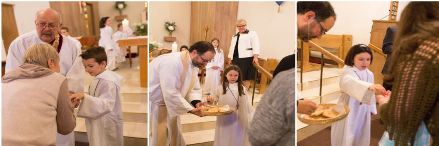 picture of kids distributing communion
